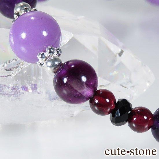 【Noble beauty】 フォスフォシデライト パープルフローライト ガーネット ブラックスピネルのブレスレットの写真2 cute stone