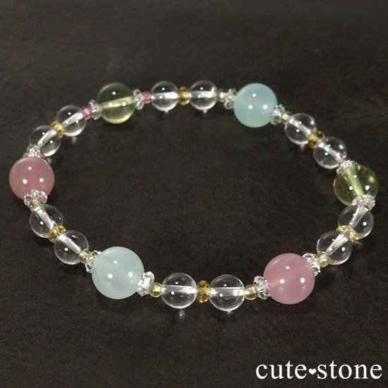 【FLOWER】 クリソプレーズ レモンクォーツ ディープローズクォーツ トルマリン シトリンのブレスレットの写真0 cute stone