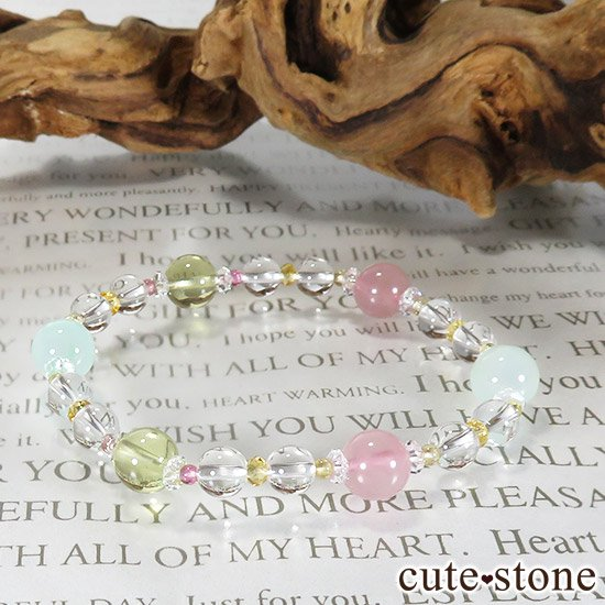 【FLOWER】 クリソプレーズ レモンクォーツ ディープローズクォーツ トルマリン シトリンのブレスレットの写真2 cute stone