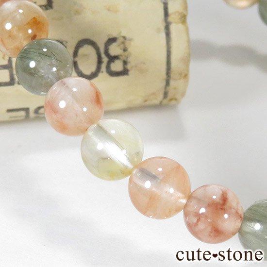 アンフィボールインクォーツ(福禄寿) AA+ 6.5〜7mm のシンプルブレスレットの写真1 cute stone