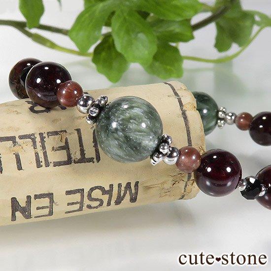 【京美人】 セラフィナイト ルビーインゾイサイト ピーターサイト ガーネット レッドスキャポライト ブラックスピネルのブレスレットの写真2 cute stone