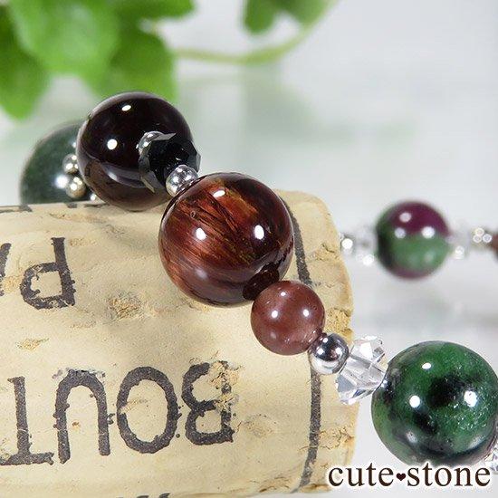 【京美人】 セラフィナイト ルビーインゾイサイト ピーターサイト ガーネット レッドスキャポライト ブラックスピネルのブレスレットの写真3 cute stone