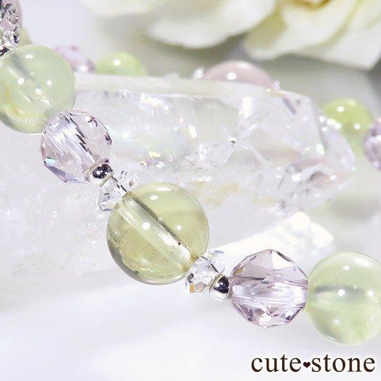 【FLOWER】 スターローズクォーツ プレナイト レモンクォーツ ローズアメジストのブレスレットの写真2 cute stone