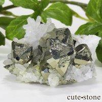 ペルー ワンサラ鉱山産 パイライト&水晶のクラスター 45.9gの画像