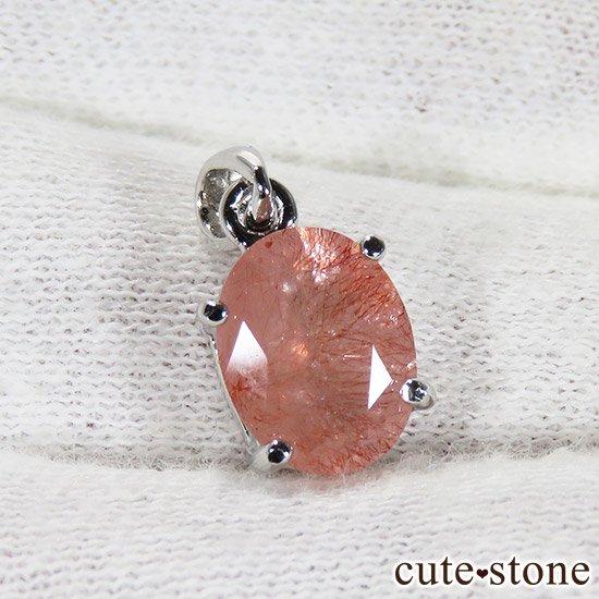 カザフスタン産ストロベリークォーツのカット入りペンダントトップ Iの写真1 cute stone