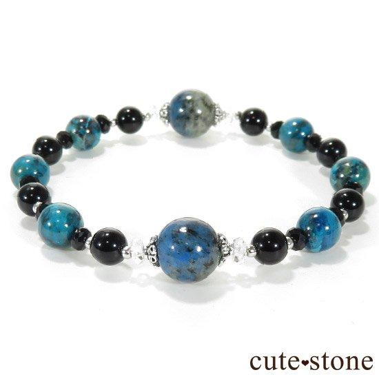 【深海物語】K2アズライト クリソコラ モリオン ブラックスピネルのブレスレットの写真1 cute stone