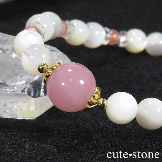 【cute princess】 グァバクォーツ インカローズ マザーオブパールのブレスレットの写真1 cute stone