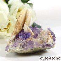 スペイン ベルベス産 パープルフローライト&アルバイトの原石(鉱物標本)55gの画像
