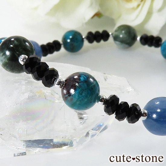 【静かな夜の海】 ラリマー カイヤナイト クリソコラ セラフィナイト ブラックスピネルのブレスレットの写真3 cute stone