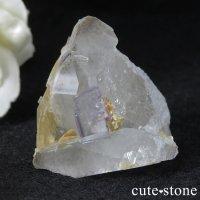 中国 湖南省産 フローライト&水晶の共生標本(原石)34gの画像