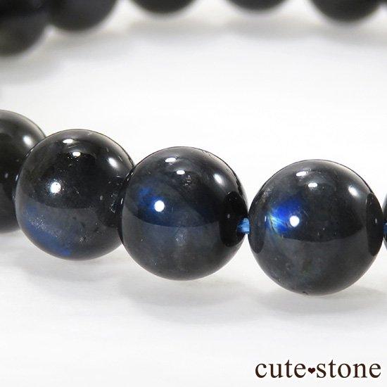 【1/2売り対象】 ブラックラブラドライトキャッツアイのシンプルブレスレット 8.5mmの写真0 cute stone