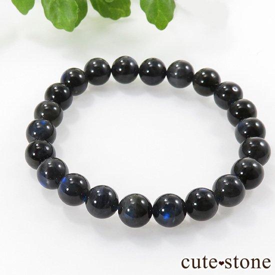 【1/2売り対象】 ブラックラブラドライトキャッツアイのシンプルブレスレット 8.5mmの写真3 cute stone