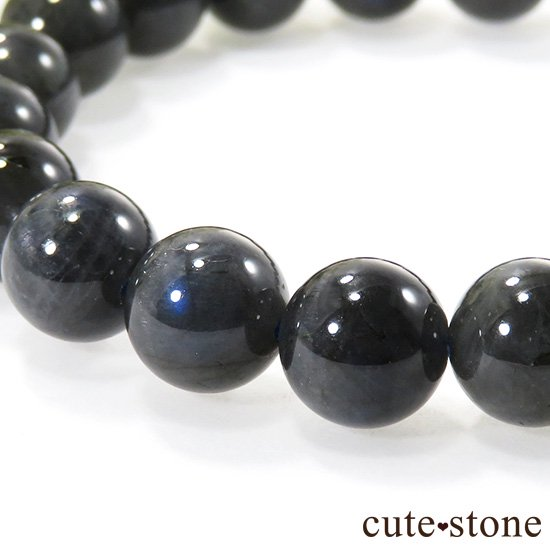 【1/2売り対象】 ブラックラブラドライトキャッツアイのシンプルブレスレット 9.5mmの写真2 cute stone