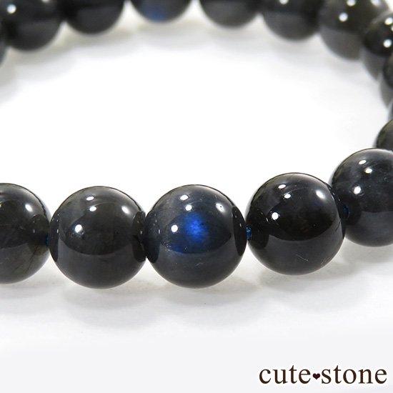 【1/2売り対象】 ブラックラブラドライトキャッツアイのシンプルブレスレット 9.5mmの写真3 cute stone