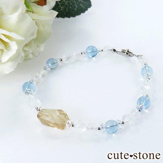 【Alice】オレゴンサンストーン アクアマリン ミルキークォーツ レインボームーンストーン 水晶のブレスレットの写真3 cute stone