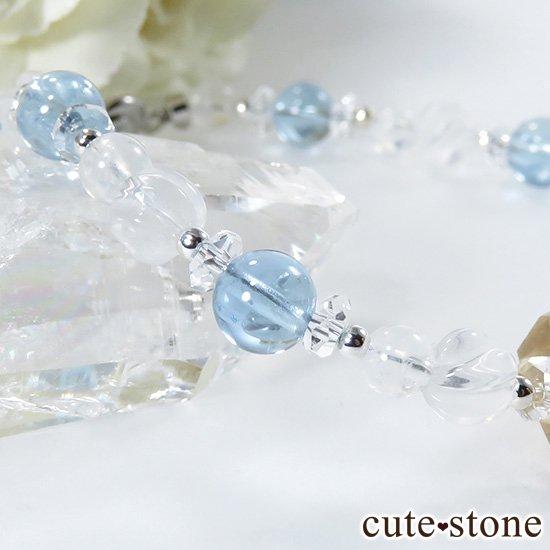【Alice】オレゴンサンストーン アクアマリン ミルキークォーツ レインボームーンストーン 水晶のブレスレットの写真5 cute stone