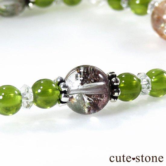 【太陽の庭】 サンストーン グリーングロッシュラーガーネット ガーデンクォーツのブレスレットの写真1 cute stone