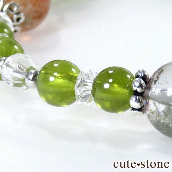 【太陽の庭】 サンストーン グリーングロッシュラーガーネット ガーデンクォーツのブレスレットの写真2 cute stone