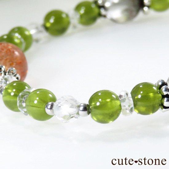 【太陽の庭】 サンストーン グリーングロッシュラーガーネット ガーデンクォーツのブレスレットの写真3 cute stone