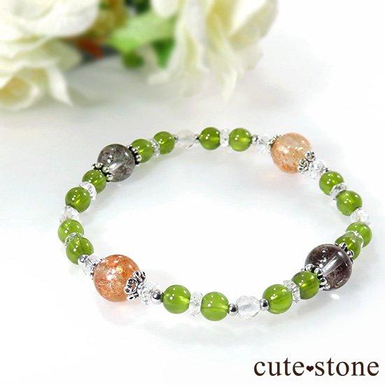 【太陽の庭】 サンストーン グリーングロッシュラーガーネット ガーデンクォーツのブレスレットの写真4 cute stone