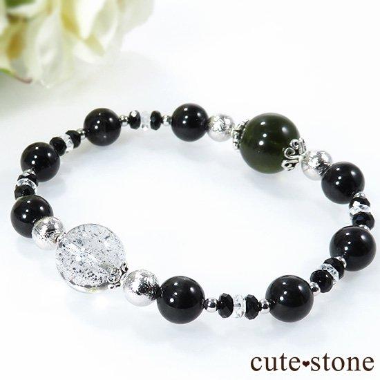 【Cosmo bracelet】 モルダバイト ヘマタイトインクォーツ ブラックスターダイオプサイト ムオニナルスタのブレスレットの写真0 cute stone