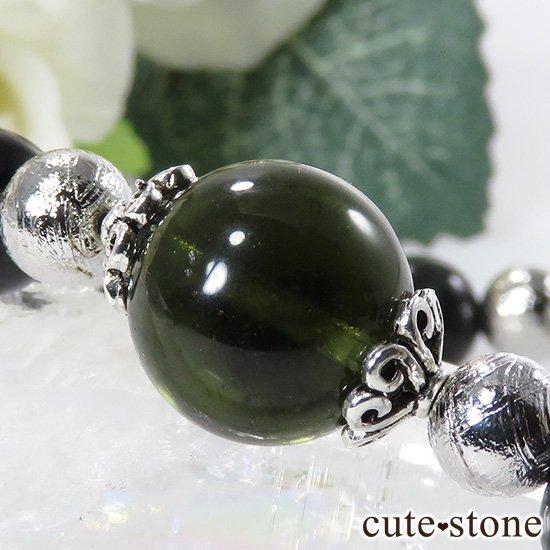 【Cosmo bracelet】 モルダバイト ヘマタイトインクォーツ ブラックスターダイオプサイト ムオニナルスタのブレスレットの写真2 cute stone