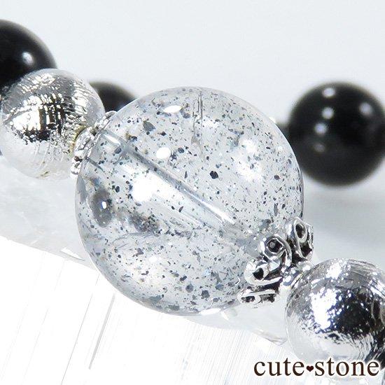 【Cosmo bracelet】 モルダバイト ヘマタイトインクォーツ ブラックスターダイオプサイト ムオニナルスタのブレスレットの写真3 cute stone
