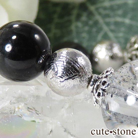 【Cosmo bracelet】 モルダバイト ヘマタイトインクォーツ ブラックスターダイオプサイト ムオニナルスタのブレスレットの写真4 cute stone