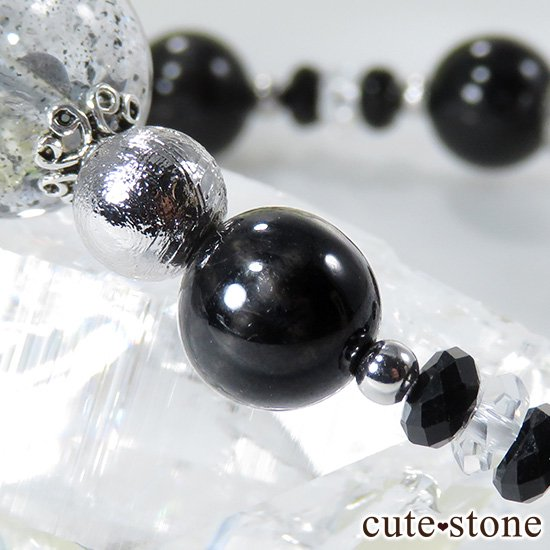 【Cosmo bracelet】 モルダバイト ヘマタイトインクォーツ ブラックスターダイオプサイト ムオニナルスタのブレスレットの写真5 cute stone