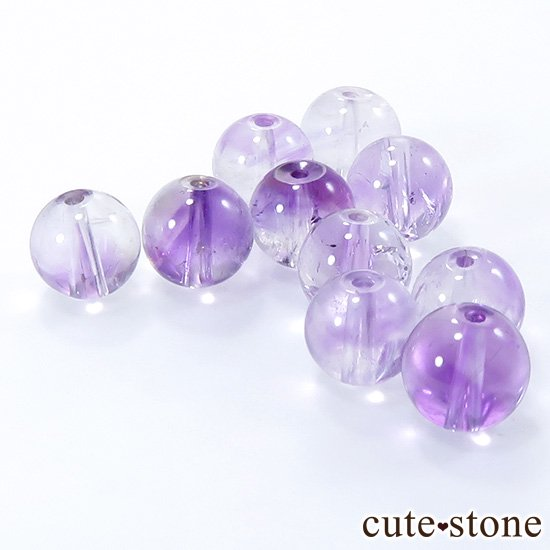 【粒売り・特価品】 バイカラーアメジスト ラウンド 7.5mm 10粒setの写真0 cute stone
