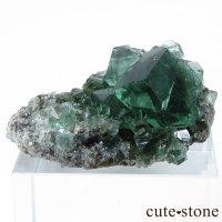 イングランド ロジャリー鉱山産 蛍光フローライトの母岩付き結晶(原石)10.9gの画像
