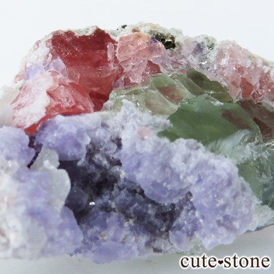 中国 湖南省産 フローライト&ロードクロサイトの共生標本(原石)の写真3 cute stone