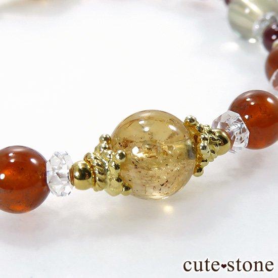 【Autumn Festa】 インペリアルトパーズ アンデシン インカローズ ヘソナイト ガーネットのブレスレットの写真2 cute stone