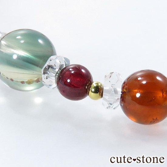 【Autumn Festa】 インペリアルトパーズ アンデシン インカローズ ヘソナイト ガーネットのブレスレットの写真4 cute stone