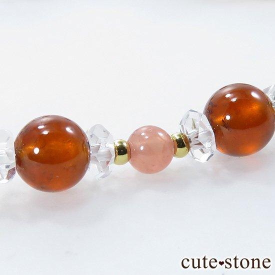 【Autumn Festa】 インペリアルトパーズ アンデシン インカローズ ヘソナイト ガーネットのブレスレットの写真6 cute stone