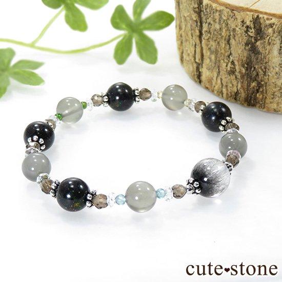 【Cosmo bracelet】 アンカンガイトインクォーツ ブラックマトリックスオパール グレームーンストーン トルマリン スモーキークォーツ 水晶のブレスレットの写真0 cute stone