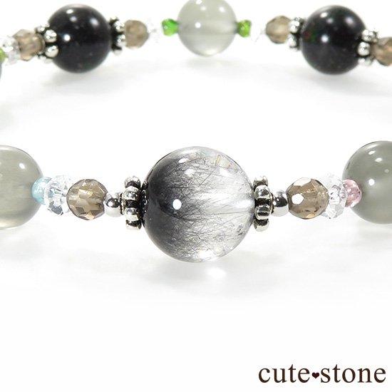 【Cosmo bracelet】 アンカンガイトインクォーツ ブラックマトリックスオパール グレームーンストーン トルマリン スモーキークォーツ 水晶のブレスレットの写真1 cute stone