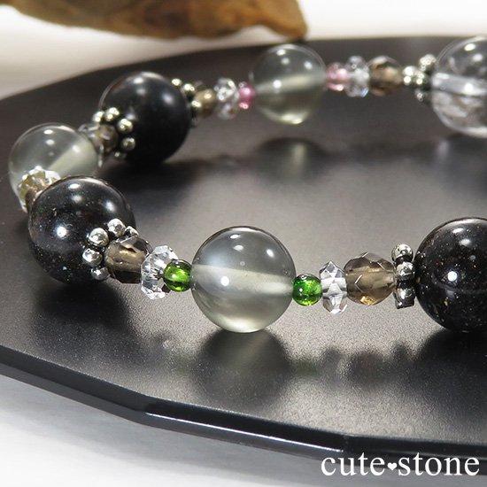 【Cosmo bracelet】 アンカンガイトインクォーツ ブラックマトリックスオパール グレームーンストーン トルマリン スモーキークォーツ 水晶のブレスレットの写真2 cute stone
