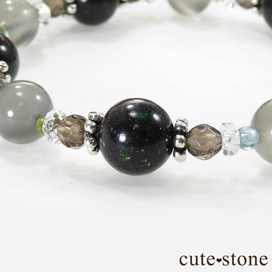 【Cosmo bracelet】 アンカンガイトインクォーツ ブラックマトリックスオパール グレームーンストーン トルマリン スモーキークォーツ 水晶のブレスレットの写真3 cute stone