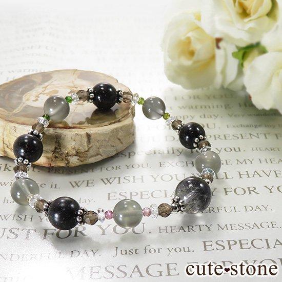【Cosmo bracelet】 アンカンガイトインクォーツ ブラックマトリックスオパール グレームーンストーン トルマリン スモーキークォーツ 水晶のブレスレットの写真4 cute stone