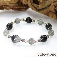 【Cosmo bracelet】 アンカンガイトインクォーツ ブラックマトリックスオパール グレームーンストーン トルマリン スモーキークォーツ 水晶のブレスレットの画像
