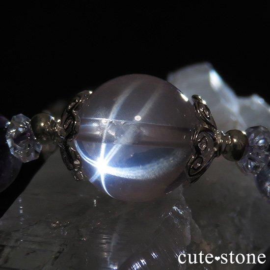 【秋桜】スターローズクォーツ バイカラーアメジスト ミルキークォーツのブレスレットの写真2 cute stone