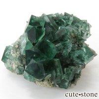 イングランド ロジャリー鉱山産 蛍光フローライトの母岩付き結晶(原石)131gの画像