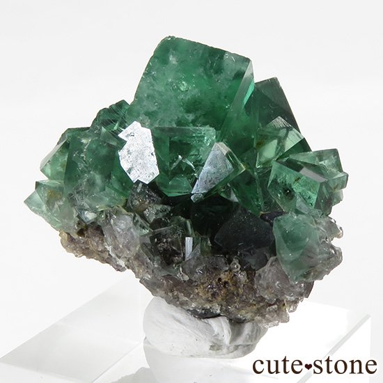 イングランド ロジャリー鉱山産 蛍光フローライトの母岩付き結晶(原石)22gの写真1 cute stone