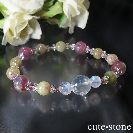 【雪月花】K2ムーンクォーツ レインボームーンストーン トルマリンのブレスレットの写真0 cute stone