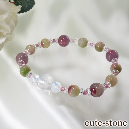 【雪月花】K2ムーンクォーツ レインボームーンストーン トルマリンのブレスレットの写真2 cute stone
