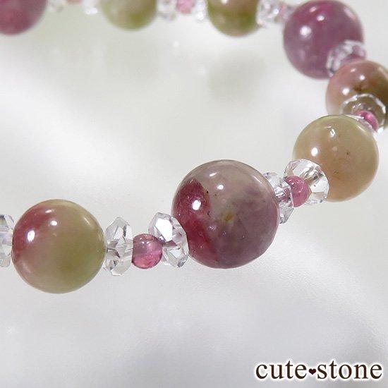 【雪月花】K2ムーンクォーツ レインボームーンストーン トルマリンのブレスレットの写真4 cute stone