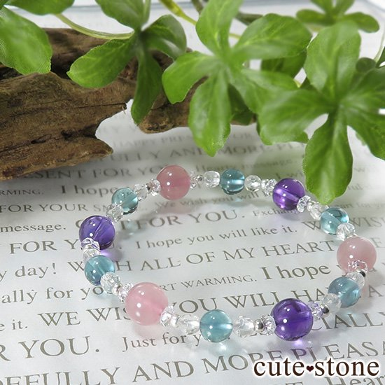 【FLOWER】ディープローズクォーツ アメジスト ブルーフローライトのブレスレットの写真6 cute stone