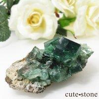 イングランド ダイアナマリア鉱山産 蛍光フローライトの母岩付き結晶(原石)45gの画像