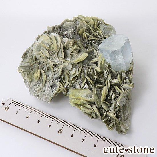 パキスタン産 大きなアクアマリンの母岩付き結晶(原石)506gの写真8 cute stone